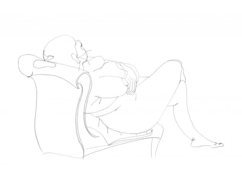 Woman reclining in chair